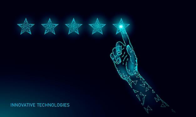 Laag poly vijf 5 sterren productconcept beoordelen. positieve feedback klant kwaliteitstevredenheid goede keuze. veelhoekige topservice voor een gelukkige gebruikerservaring