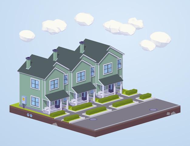 Laag poly voorsteden huizen in de rij
