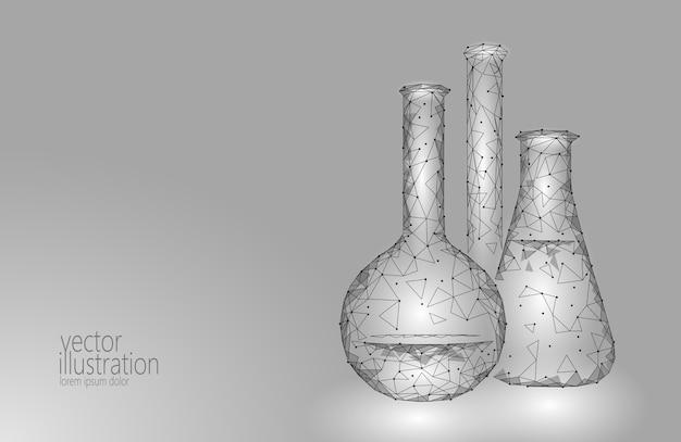 Laag poly wetenschap chemische glazen kolven