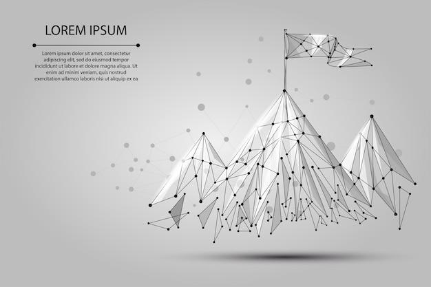 Laag poly wireframe vlag op de top van de berg. succes in bedrijfs-, top- of doelsymbool