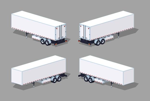 Laag poly witte vrachtaanhangwagen