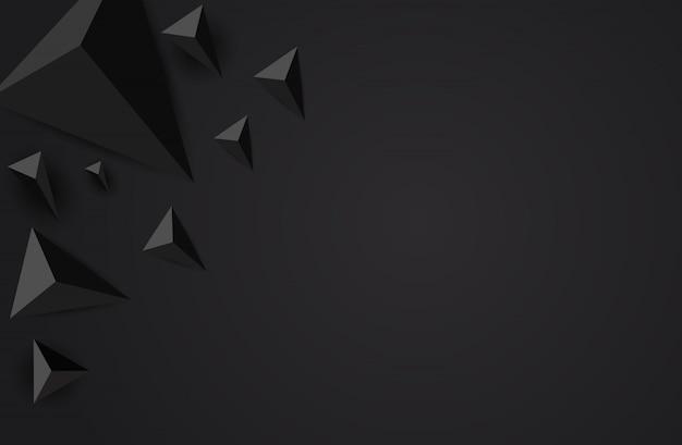 Laag poly zwart veelhoekige vormen achtergrond