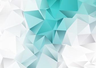 Laag polyontwerp met groenblauw en zilveren kleuren