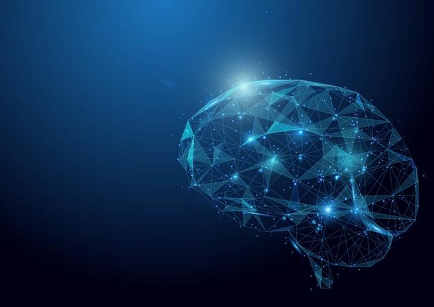 Laag veelhoek hersenen draadframe gaas op blauwe achtergrond