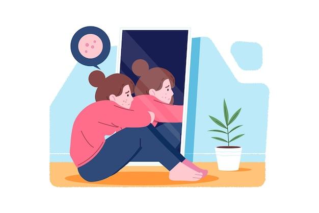Laag zelfbeeld bij vrouw en spiegel