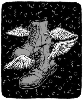 Laarzen met vleugels. toerisme, reizen, wandelen concept. hand getekend vectorillustratie in zwart-wit kleuren. abstracte grafische tekening geïsoleerd op wit. element voor ontwerp, inrichting.