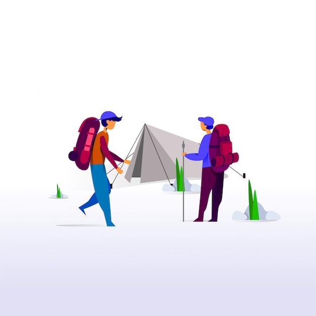 Laat avontuur, camping illustratie