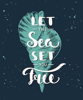 Laat de zee je bevrijden met schets van zeeschelp