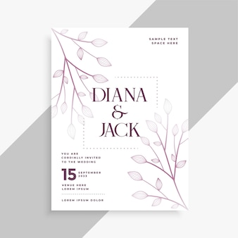 Laat decoratieve bruiloft flyer sjabloonontwerp