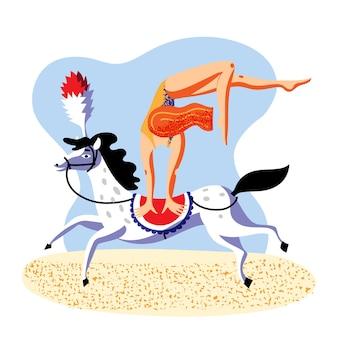 Laat een vrouw zien die trucjes doet bij het rennen van paard circusvoorstelling