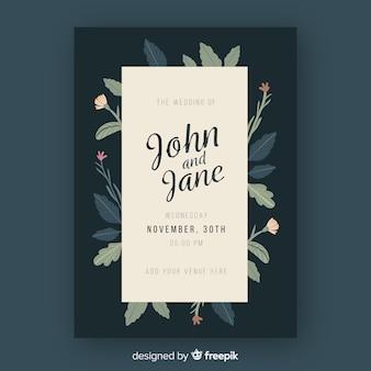Laat frame bruiloft uitnodiging sjabloon