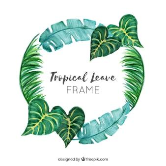 Laat frame met tropische planten