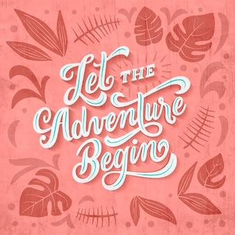 Laat het avontuur beginnen met reizen belettering