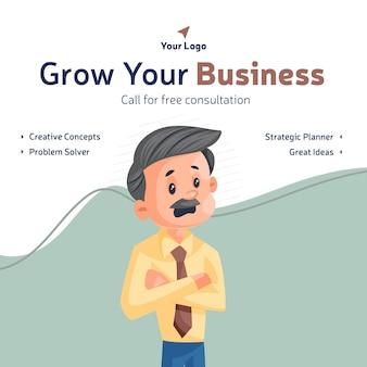 Laat het ontwerp van uw bedrijfsbanner groeien
