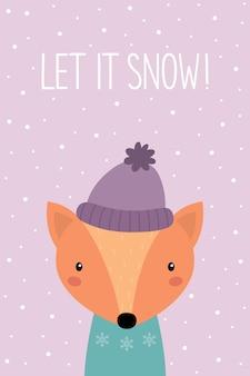 Laat het sneeuwen een nieuwjaarskaart leuke cartoonvos met een hoed