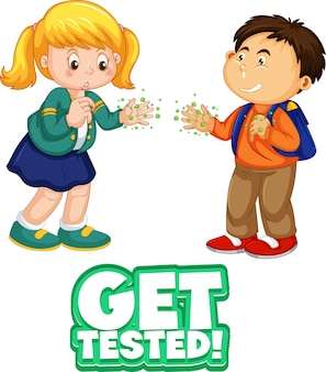 Laat je testen poster twee kinderen stripfiguur houden geen sociale afstand social