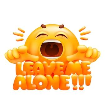 Laat me met rust sticker. gele emoji stripfiguur. emoticon glimlach gezicht.