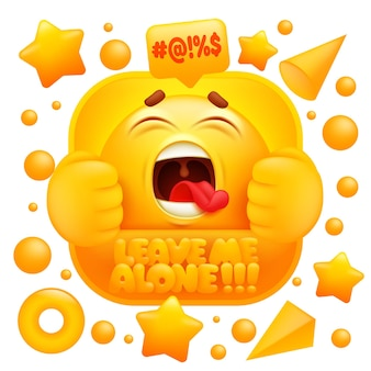 Laat me met rust web sticker. geel emoji-teken in 3s cartoonstijl.