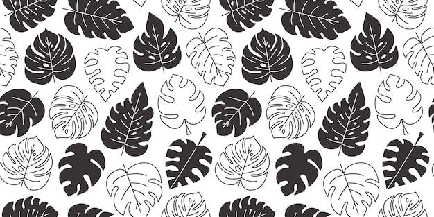 Laat monstera naadloos patroon, zwarte tropische.