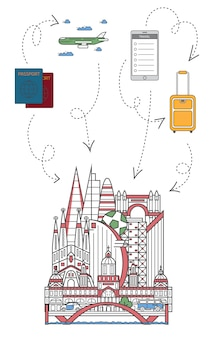 Laat reisillustratie in lineaire stijl reizen