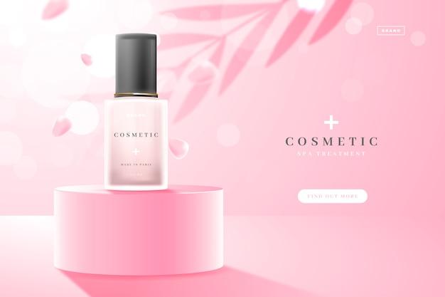 Laat schaduwen en cosmetische advertentie voor huidverzorgingsproducten achter