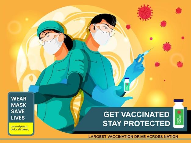 Laat u vaccineren blijf beschermd concept met medisch personeel dat masker en vaccin draagt