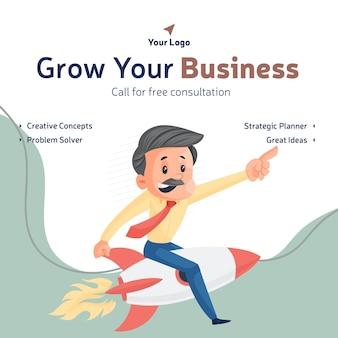 Laat uw bedrijf groeien en bel voor een gratis ontwerpsjabloon voor een banner voor overleg