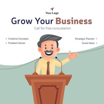 Laat uw bedrijfsbannerontwerp groeien met zakenman die een toespraak houdt