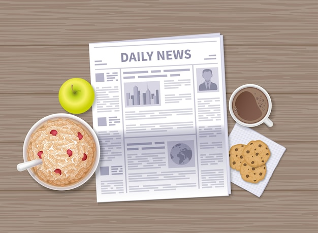 Laatste nieuws bij het ontbijt. dagelijkse krant op een houten tafel. havervlokken, appel, koffie, chocoladekoekjes.