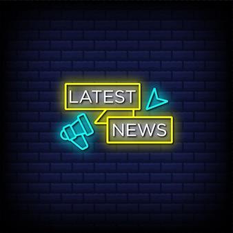 Laatste nieuws neonreclamestijltekst