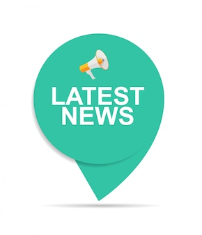 Laatste nieuws teken label pictogram met megafoon
