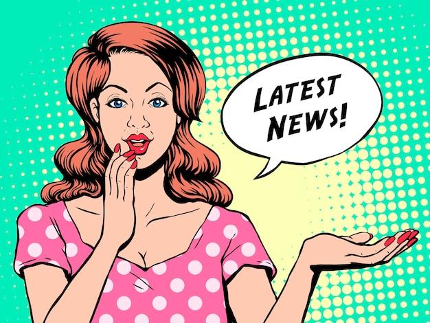 Laatste nieuws vrouw popart illustratie
