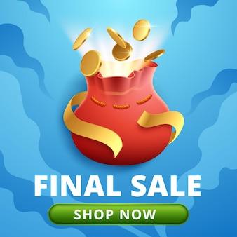Laatste verkoop korting banner sjabloon promotie