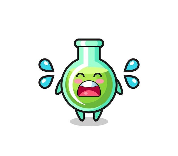 Lab bekers cartoon afbeelding met huilend gebaar, schattig stijlontwerp voor t-shirt, sticker, logo-element