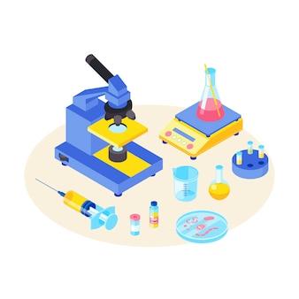 Lab tests isometrische kleur illustratie. chemisch experiment. diagnostische, wetenschappelijke laboratoriumapparatuur. microbiologie. microscoop, spuit 3d concept. bacteriën, micro-organismen. wetenschappelijk onderzoek