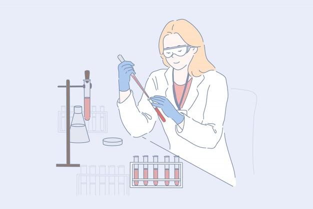 Lab werknemer op het werk. vrouwelijke onderzoeker, arts in beschermende bril en witte vacht die bloedonderzoek doen, jonge chemicus, farmacoloog bestudeert monsters in wetenschappelijk experiment. eenvoudig plat