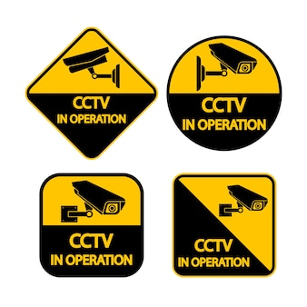 Label cctv-camera instellen. zwart videobewakingsbord