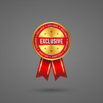 Label exclusief met rood lint