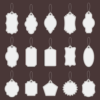 Label labels. papier vintage prijskaartje mockups, markt lege tags sjabloon, promotie productie winkel kartonnen tags icon set. prijs vintage kaart, hang label, kartonnen lege illustratie
