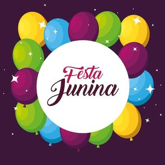 Label met ballonnen decoratie naar festa junina