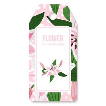 Label met lelies bloem en bladeren