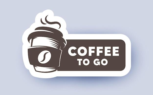 Label met logo voor koffie om te gaan