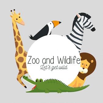 Label met wilde dieren natuurreservaat