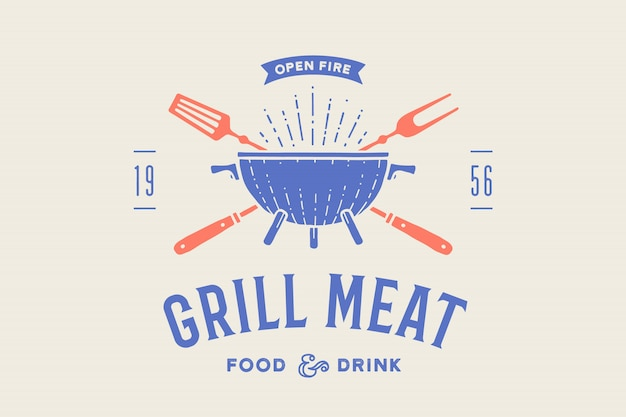 Label of logo voor restaurant. logo met grill, bbq of barbecue, grillvork, tekst grill vlees, eten en drinken, open vuur. grafische sjabloon logo van restaurant, bar, café, food court. illustratie