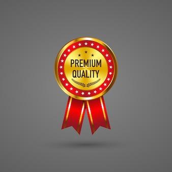 Label premium met rood lint