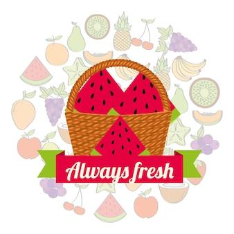 Label rieten mand met altijd verse watermeloen