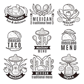 Label set met traditionele mexicaanse symbolen. voedselemblemen voor restaurantmenu