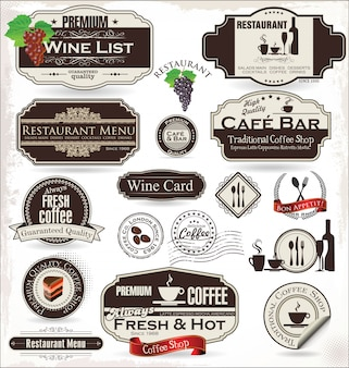 Label set voor restaurant en café