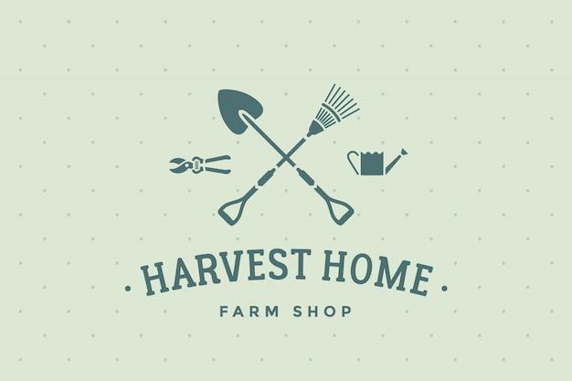 Label van boerderij winkel harvest home