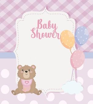 Label van teddybeer met ballonnen decoratie